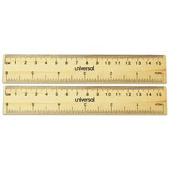 1Flat Wood Ruler, Standard/Metric, 6""