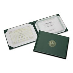 "7510007557077, Award Certificate Holder, 8 1/2"" x 11"", Army Seal, Green/Gold"