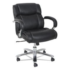 Alera Maxxis Series Big and Tall Leather Chair, Supports up to 350 lbs., Black Seat/Black Back, Chrome Base