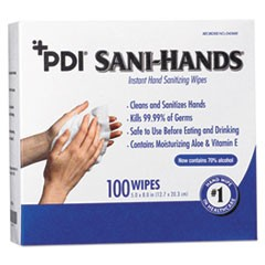 PDI Sani-Hands Instant Hand Sanitizing Wipes, 8 x 5, 1000 per Carton