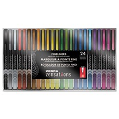 Zensations Fineliner, Assorted Ink, Fine, 24/Pack