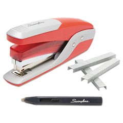 1Quick Touch Stapler Value Pack, 28-Sheet Capacity, Red/Silver