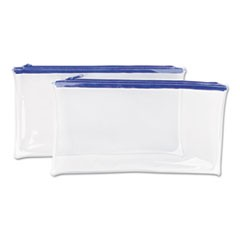 1Zippered Wallets/Cases, 11 x 6, Clear/Blue, 2/Pack