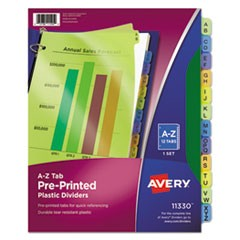 Durable Preprinted Plastic Tab Dividers, 12-Tab, A to Z, 11 x 8.5, Assorted, 1 Set