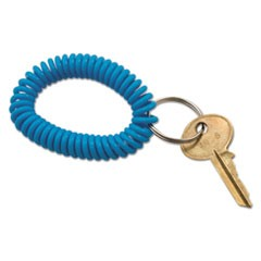 Spiral Key Chain, Plastic, Blue/Green/Pink/Purple, 4/Pack
