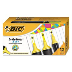 Brite Liner 3 'n 1 Highlighters, 3 'n 1 Tip, Yellow, 1 Dozen