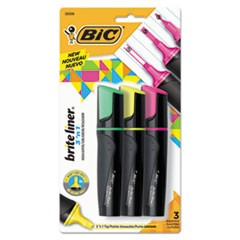 Brite Liner 3 'n 1 Highlighters, 3 'n 1 Tip, 3 Assorted, 1 set