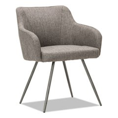 "Alera Captain Series Guest Chair, 24"" x 24.5"" x 30.25"", Gray Tweed Seat/Gray Tweed Back, Chrome Base"