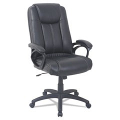 Alera CC Series Executive High Back Bonded Leather Chair, Supports up to 275 lbs, Black Seat/Black Back, Black Base