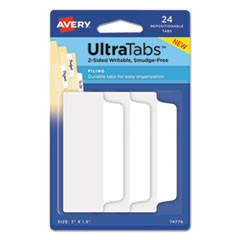 "Ultra Tabs Repositionable Wide Tabs, 1/3-Cut Tabs, White, 3"" Wide, 24/Pack"