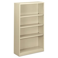 "Steel Bookcase, 4-Shelf, 34.5""w x 12.63""d x 59""h, Putty"