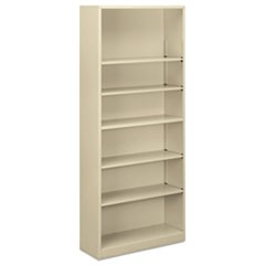Steel Bookcase, 6-Shelf, 34.5