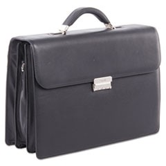 "Sartoria Medium Briefcase, 16.5"" x 5"" x 12"", Leather, Black"