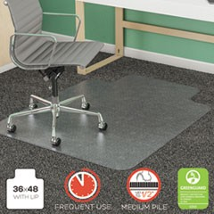 SuperMat Frequent Use Chair Mat, Med Pile Carpet, Roll, 36 x 48, Lipped, Clear