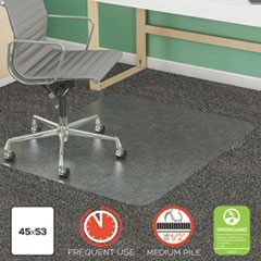 SuperMat Frequent Use Chair Mat, Med Pile Carpet, Flat, 45 x 53, Rectangular, Clear
