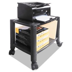 Mobile Printer Stand, Two-Shelf, 20w x 13 1/4d x 14 1/8h, Black