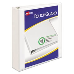 "TouchGuard Protection Heavy-Duty View Binders with Slant Rings, 3 Rings, 1.5"" Capacity, 11 x 8.5, White"