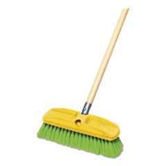 "Synthetic-Fill Wash Brush, 10"" Yellow Plastic Block"