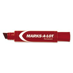 MARKS A LOT Jumbo Desk-Style Permanent Marker, Chisel Tip, Red