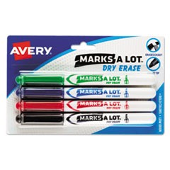 MARKS A LOT Pen-Style Dry Erase Markers, Medium Bullet Tip, Assorted Colors, 4/Set