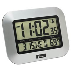 "6645016611877, LCD Digital Radio-Controlled Clock, 7.25"", Silver"