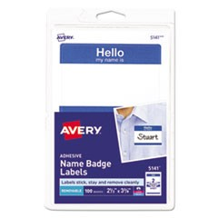 "Printable Adhesive Name Badges, 3.38 x 2.33, Blue ""Hello"", 100/Pack"