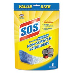Non-Scratch Soap Scrubbers, Blue, 8/Pack