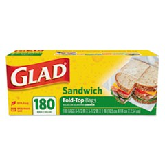 "Fold-Top Sandwich Bags, 6.5"" x 5.5"", Clear, 180/Box"