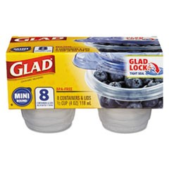 Mini Round Food Storage Containers, 4 oz,  8/Pk, 12 Pk/Ctn