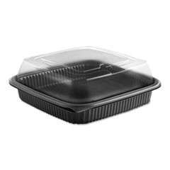 Culinary Squares 2-Piece Microwavable Container, 36 oz, Clear/Black, 8.46 x 8.46 x 2.91,150/Carton