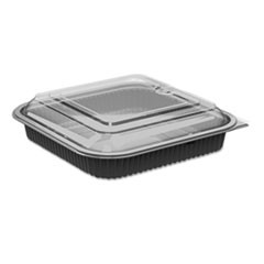 Culinary Squares 2-Piece Microwavable Container, 36 oz, Clear/Black, 8.46 x 8.46 x 2.25,150/Carton