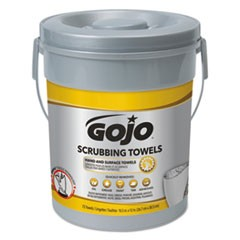 Scrubbing Towels, Hand Cleaning, Silver/Yellow, 10 1/2 x 12, 72/Bucket