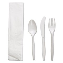 Four-Piece Cutlery Kit, Fork/Knife/Napkin/Teaspoon, White, Polypropylene, 250/CT