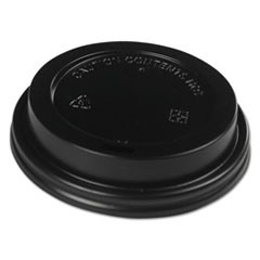 Hot Cup Lids, Fits 10-20 oz Hot Cups, Black, 1000/Carton