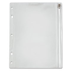 Zippered Ring Binder Pocket, 8 x 10-1/2, Clear/White