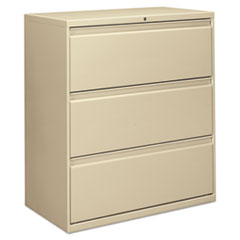 Three-Drawer Lateral File Cabinet, 36w x 18d x 39.5h, Putty