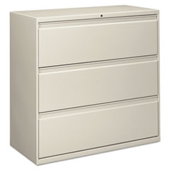 Three-Drawer Lateral File Cabinet, 42w x 18d x 39 1/8h, Light Gray
