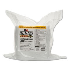 "Mega Roll Sanitizing Wipes Refill, 7.7"" x 6"", White, 50 ft/roll, 2 Roll/Carton"
