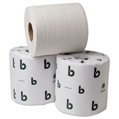 1Boardwalk Green Bathroom Tissue, Split-Core, Septic Safe, 2-Ply, White, 3.75 x 4.5, 500 Sheets, 96/Carton