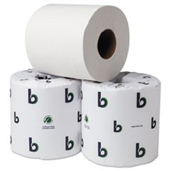 "1Boardwalk Green Bathroom Tissue, Septic Safe, 2-Ply, White, 3.75"" x 4"", 500 Sheets, 80/Carton"