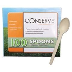 Corn Starch Cutlery, Spoon, White, 100/Pack