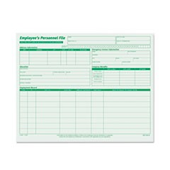 Employee's Record File Folders, Straight Tab, Letter Size, Green, 20/Pack