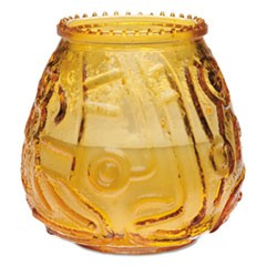 "Euro-Venetian Filled Glass Candles, 45 Hour Burn, 3.65""d x 3.56""h, Amber, 12/CT"
