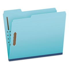 "Earthwise by Heavy-Duty Pressboard Folders with Two Fasteners, 1/3-Cut Tabs, 2"" Expansion, Letter Size, Light Blue, 25/Box"