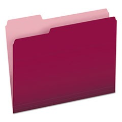 Colored File Folders, 1/3-Cut Tabs, Letter Size, Burgundy/Light Burgundy, 100/Box