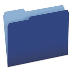 Colored File Folders, 1/3-Cut Tabs, Letter Size, Navy Blue/Light Blue, 100/Box