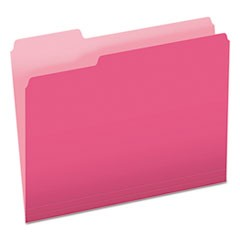 Colored File Folders, 1/3-Cut Tabs, Letter Size, Pink/Light Pink, 100/Box