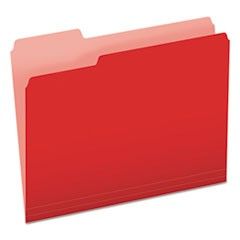 Colored File Folders, 1/3-Cut Tabs, Letter Size, Red/Light Red, 100/Box