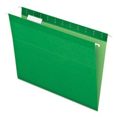 Colored Reinforced Hanging Folders, Letter Size, 1/5-Cut Tab, Bright Green, 25/Box