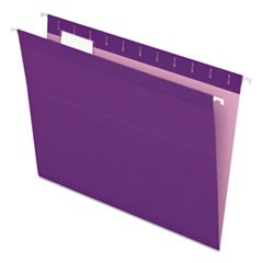 Colored Reinforced Hanging Folders, Letter Size, 1/5-Cut Tab, Violet, 25/Box
